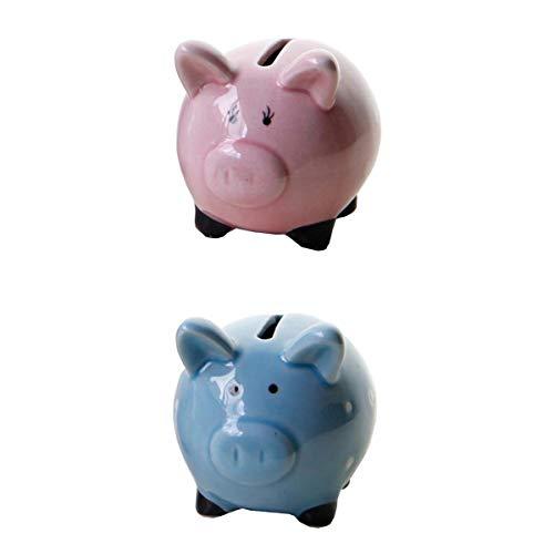 Amuzocity Caja de Dinero de Animales de Cerámica de 2 Piezas, Alcancía, Moneda, Banco en Efectivo para Ahorrar Dinero, Azul/Rosa