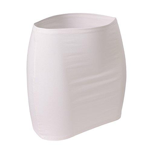 CFLEX Damen Variotube-Nierenwärmer, Shirtverlängerung, Minirock aus Baumwolle - Ivory White XS-S