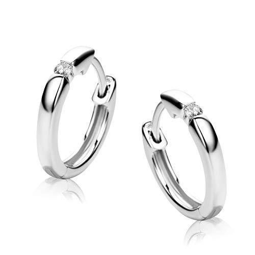 Orovi Damen Diamant Gold Creolen Ohrringe Weißgold 9 Karat (375) Ohr-Schmuck Brillianten 0.06ct