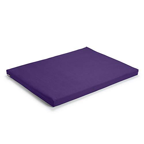 basaho Zabuton Tapis de Méditation | Coton Bio (certifié GOTS) | Remplissage de Fibre de Laine Recyclée (Violet Pure)