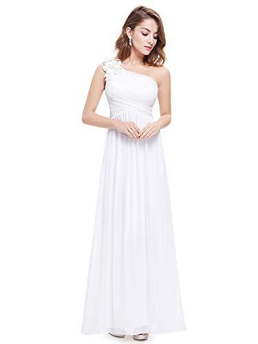 Ever-Pretty Robe de Soirée Longue Femme Seule Épaule en fleurss Taille Empire Blanc 40