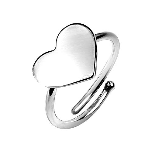 Made in Italy - Anillo de mujer con corazón de plata 925 - Joya original ajustable con bonita caja de regalo - Idea para ella Navidad 2019 - Especial Aniversario Amica Madre Cumpleaños plateado