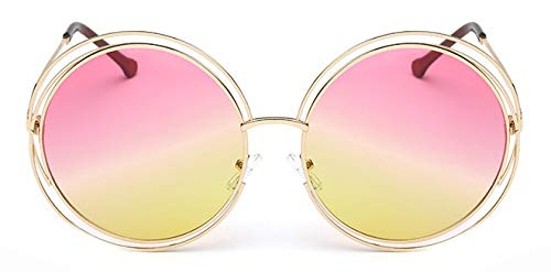 Occhiali da Sole tondi Oversize Donna Luxury Brand Metallo Vintage Grande Montatura Occhiali da Sole Lady Cool Retro Eyewear yellowpink