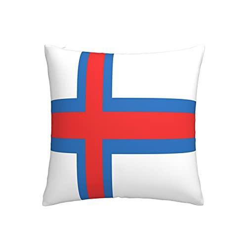 Kissenbezug mit Flagge der Faeroe-Inseln, quadratisch, dekorativer Kissenbezug für Sofa, Couch, Zuhause, Schlafzimmer, für drinnen & draußen, 45,7 x 45,7 cm
