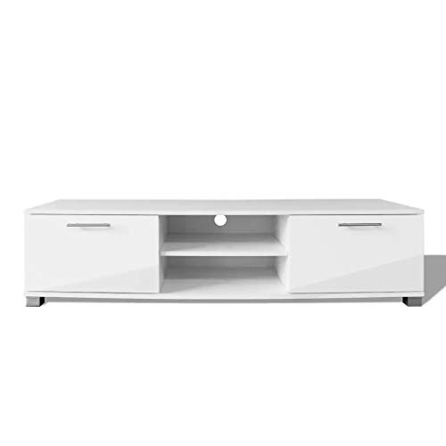 Cikonielf TV-Schrank, 120 x 40 x 34 cm, hochglänzend, TV-Schrank mit Fächern und Türen, Weiß