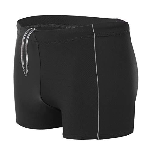 Aquarti Maillot de Bain pour Homme Boxer de Piscine Shorts Grande Taille, Nior/Gris, XL