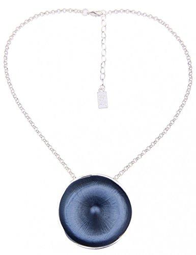 Leslii Damenkette Scheibe Matt Collier kurze Halskette blaue Modeschmuck-Kette Glieder-Kette Länge 41cm in Silber Blau