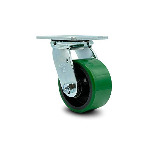 """Polyurethane on Cast Iron Swivel Top Plate Caster w/4"""" x 2"""" Green Wheel - 700 lbs Capacity/Caster - Service Caster Brand"""