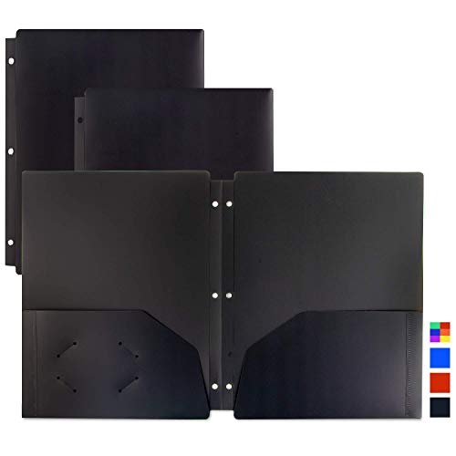 Dunwell Binder Folders with Pockets and Holes - (3 Pack, Black), Poly Plastic 2-Pocket Folders, 3-Hole Punched to Fit 3-Ring Binder, Black Binder Folders for Office, Includes Removable Adhesive Labels