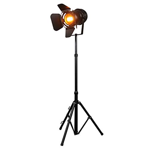 Industrial Tripod Floor Lamp for Living Room Reading, Vintage Standing Reading Lamp, Photography Floor Lamp with Black Tripod Iron Lamp Body, Adjustable Height