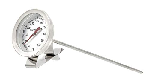 """PIC Gauge B2B8-R-CLIP 2"""" Dial Size, 50/550°F, 8' Stem Length, All Stainless Steel with Stainless Steel Clip, Bimetal Thermometer"""