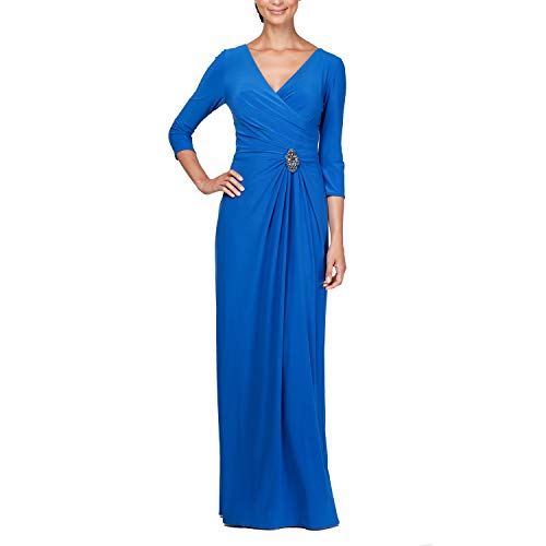 Alex Evenings Women's Petite 3/4 Sleeve Long Dress with Cinched Tie Waist, Bright Royal, 8P (Apparel)