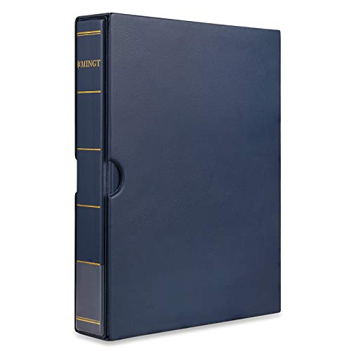 MUDOR Empty Stamp Albums Stockbook for Professional Collectors, Classic Binder with Slipcase (Blue)