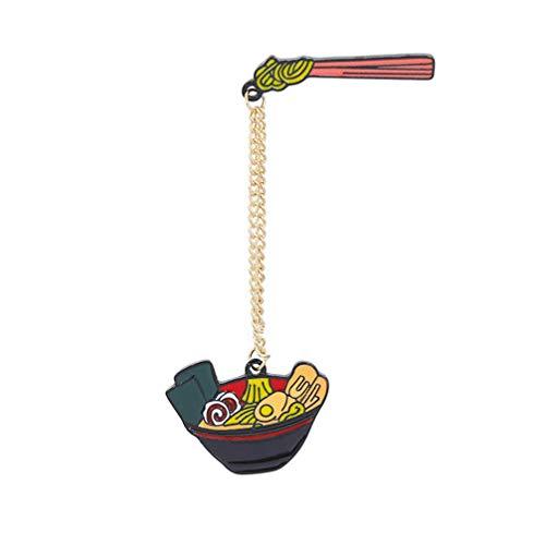 Amosfun Ramen Cartoon Brosche Pin lustige Nudeln Schüssel Emaille Anstecknadel DIY Handwerk Boutonniere Zubehör für Jacken Rucksäcke Taschen Hüte Tops