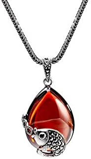 Women 925 Silver Red Pomegranate Pendant Chalcedony Necklace Clavicle Chain