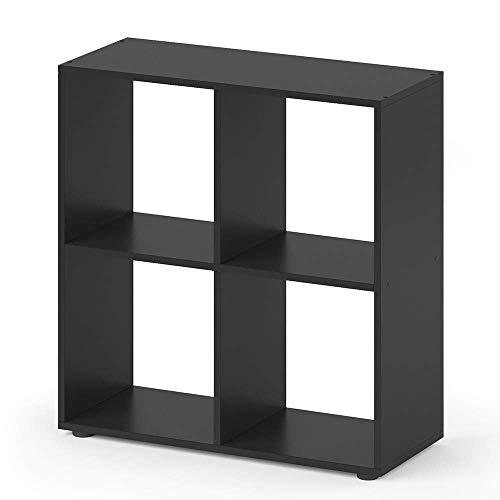 Vicco Separador de ambientes Tetra librería Negro 4 Compart