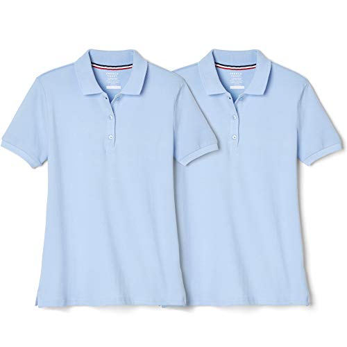 French Toast Girls' Big Short Sleeve Stretch Pique Polo-2 Pack, Light Blue, 10-12