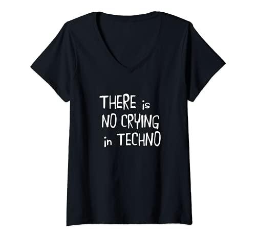 Mujer No hay llanto en el tecno Camiseta Cuello V
