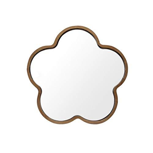JJZI-L Espejo De Madera Maciza, Diseño Decorativo De Estilo Japonés Espejo De Pared para Niña Espejo De Maquillaje para La Entrada del Corredor De La Entrada Espejo Decorativo(Size:36 * 36CM,Color:A)