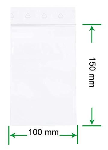 HeiZip 100 x Druckverschlussbeutel 100 x 150 mm, 90 mµ/MY (extra stark), Transparent, Unbedruckt, Wiederverschliessbar, Lebensmittelecht