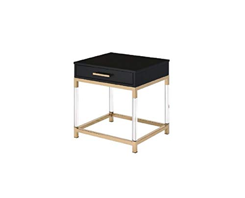 Knocbel Contemporary End Table with Storage Drawer, Sofa Couch Side Bedside Table Nightstand with Metal Frame & Acrylic Legs, 20' L x 18' W x 23' H (Black and Gold)