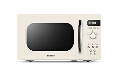 COMFEE' Retro Countertop Microwave Oven with Compact Size, Position-Memory Turntable, Sound On/Off Button, Child Safety Lock and ECO Mode, 0.7Cu.ft/700W, Cream, AM720C2RA-A (Renewed)
