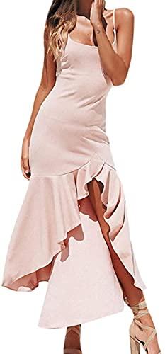 BUTERULES Women's Sexy Dress Off Shoulder Spaghetti Strap Ruffles Irregular Long Dress Casual Sundress Party Dress
