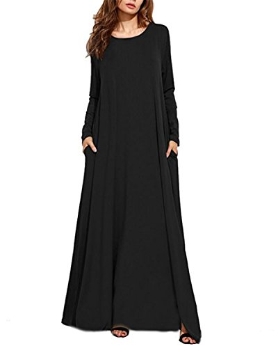 Kidsform Vestito Lungo Donna Estivo Manica Corta Bohemian Chic Maxi Beach Dress Girocollo Floral Colore Solido Large Size Fluid Casual Rode Floral Abito Cocktail J-Nero M
