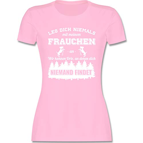 Hunde - Leg Dich Niemals mit Meinem Frauchen an - S - Rosa - t-Shirt Spruch Hund - L191 - Tailliertes Tshirt für Damen und Frauen T-Shirt