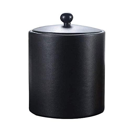 Cubo de hielo Cubo de hielo de acero inoxidable Cubo de hielo Caja de cuero de oro Cubo de hielo negro con filtro ICE Partition Ice Town (Color : Black)