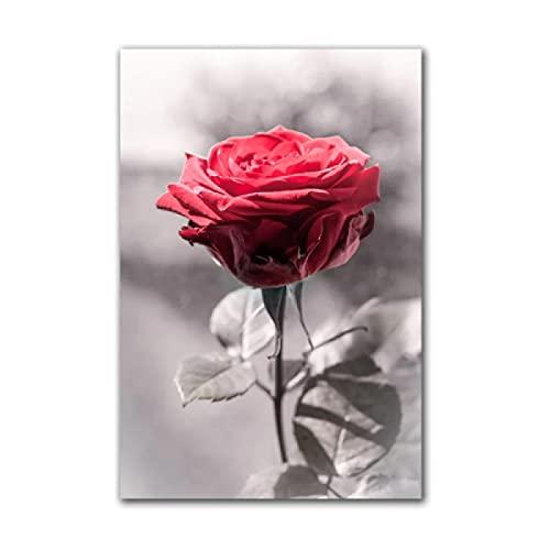"""Druck Auf Leinwand Nordic Red Rose Blume Poster Leinwand Bild Wandkunst Moderne Gemälde Wandkunst Dekoration Malerei 50x70cm/19,6 \""""x 27,5\"""" Gerahmt"""