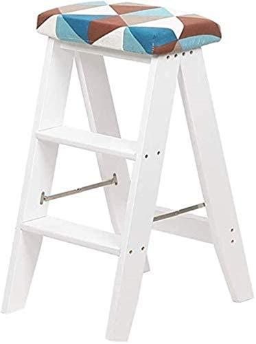 Taburete de paso plegable Pedal de madera Escalera 3 Pasos, Biblioteca de oficina Biblioteca Silla / Escalera de escalada / Taburete alto, Cojín desmontable (Color: Negro) Múltiples ocasiones, Marrón,