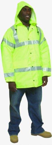 """Mutua 16370alta visibilidad poliéster ANSI clase 3Parka de invierno perchero de pared de seguridad con aislamiento pesados y 2""""Plata reflectante rayas, 4x -Large, Verde Lima"""
