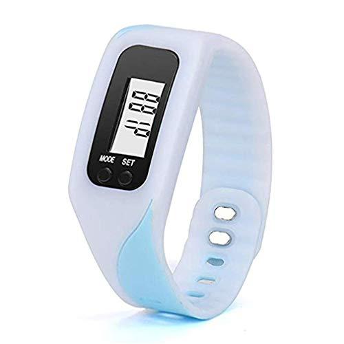ITVIP - Pulsera podómetro, Reloj de Gel de sílice con Pantalla LCD Digital, podómetro a Distancia recorrida, Reloj pequeño con cálculo de calorías, Unisex Adulto, Bianco, 4,5 x 3,4 x 2,2 cm