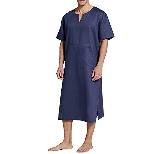 Bata de hombre de algodón y lino Pijamas de manga corta con cuello en V retro sólido camisón de ropa de descanso, azul gris, XL