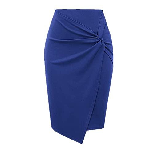 N\P Falda de lápiz retorcido de Color Elegante para Mujer Vestido Corto
