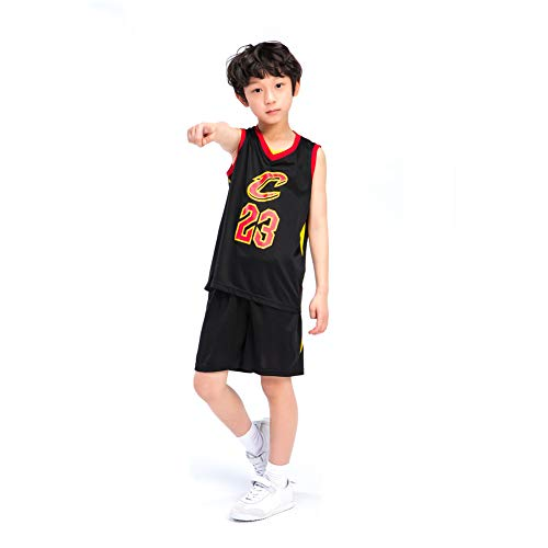 KSWX Camiseta de Baloncesto Niño Cavaliers # 23 Lebron James Trajes De Entrenamiento De Baloncesto para Hombres Y Mujeres,Black,2XS