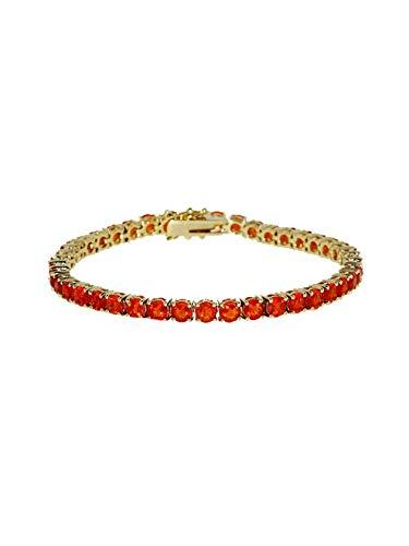 Terra Opalis Armband aus 375 Gelbgold mit mexikanischem Feueropal, Tennisarmband mit Kastenschloss und Sicherheitsriegeln Länge ca. 19,5 cm