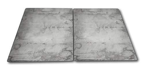 HCH 2 x Glas Herdabdeckplatte Herdabdeckung Schneidebrett Abdeckplatte für Ceranfeld Design Beton extra für große 80 cm Kochfelder Herdblende