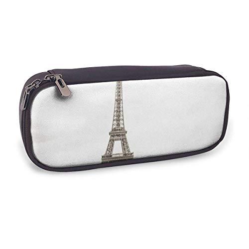 Estuche Escolar de Gran Capacidad,Torre Eiffel París Color Sepia,Bolsa de Lápiz Organizador para Material Papelería con Cremallera Doble