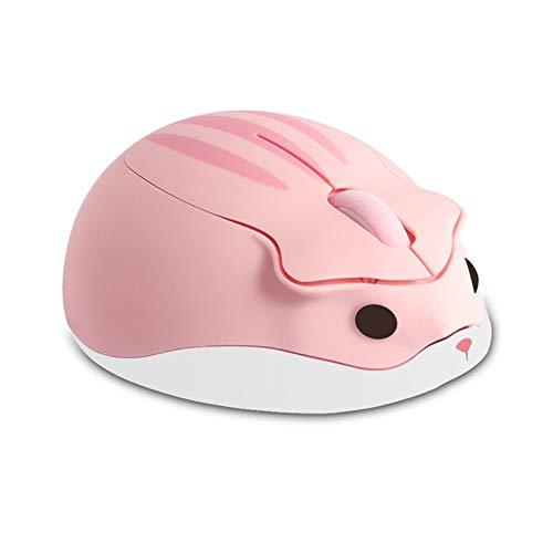 Ratón inalámbrico con forma de hámster óptico, 1200 DPI con cancelación de ruido, ultra portátil, 2,4 GHz con receptor USB unifying para PC, Mac o portátil, color rosa