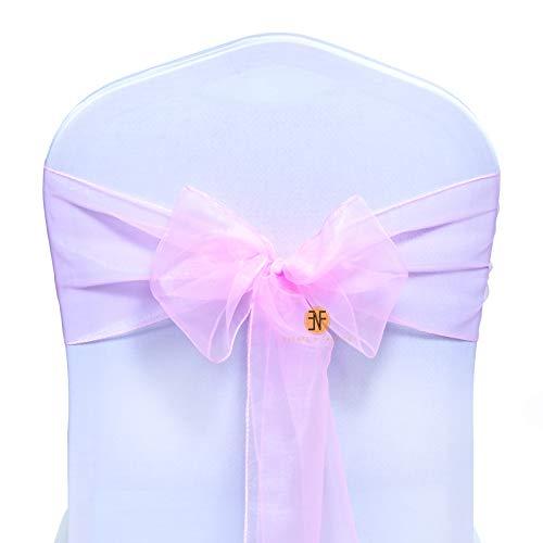 Paquete de 100 Silla Organza Completo Lazo Bandas - Semi-Transparente Tela Cubiertas con Minimal She