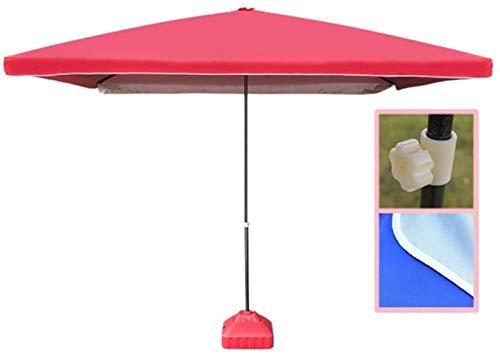 Sonnenschirme 9Ft Platz Tragbare Patio Außen Markt Sonnenschirm for Outdoor-Tisch Deck Garten, Strandschirm Sun Shelter Außensonnenschirm (Color : Red, Size : Ft/280cm)