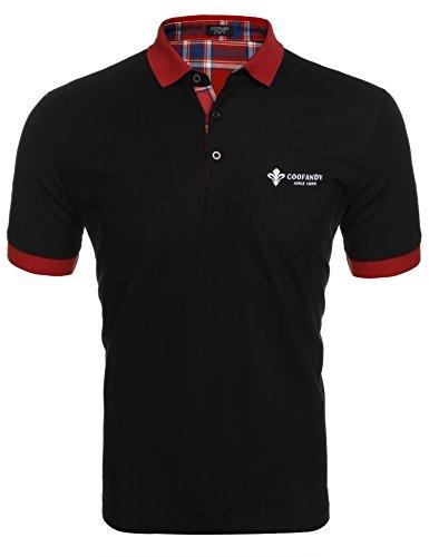 Coofandy Herren Poloshirt Kurzarm Einfarbig Sommer T-Shirt Men's Polo Shirt(Schwarz,M)