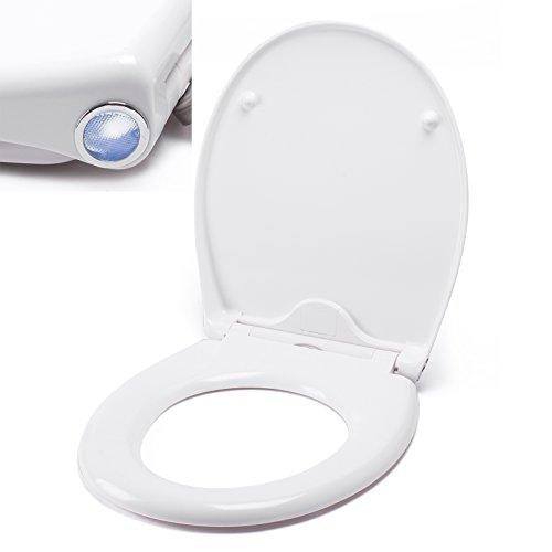 MSV WC Sitz Toilettendeckel Duroplast mit Absenkautomatik und auf Knopfdruck abnehmbar zur Reinigung in Weiß – Easy Fix Clip System - mit LED Nachtlicht