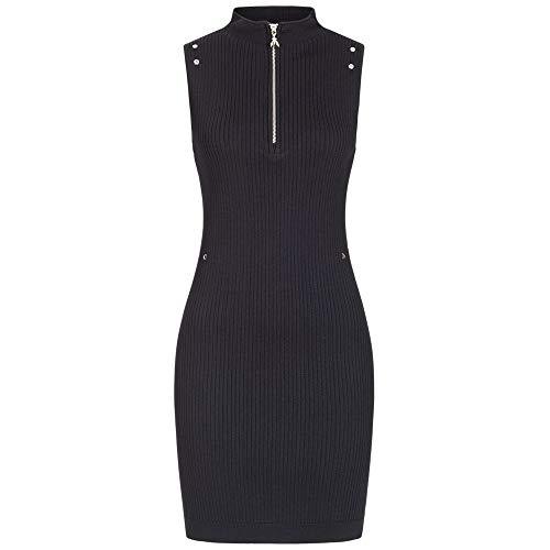 Patrizia Pepe Kleid aus Rippstrick mit Stehkragen 40 Schwarz