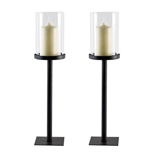 Windlicht Magnus aus Metall mit Glaszylinder auf Fuß im 2er Set | Klassisch und Edel | Tischdeko | Accessoire für innen und draußen | Kerzenhalter auch für dicke Kerzen | Dekoration für Wohnung