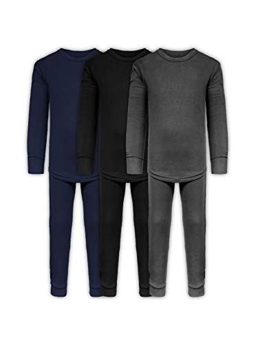 Boys Long John Ultra-Soft Cotton Stretch Base Layer Underwear Sets / 3 Long Sleeve Tops + 3 Long Pants - 6 Piece Mix & Match (3 Sets / 6 Pc - Black/Grey/Navy, 7)