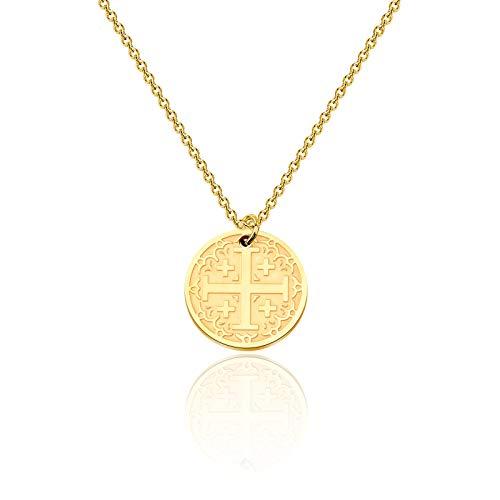 bobauna Jerusalem Crusaders Cross Disc Pendant Necklace Religious Jewelry Baptism Gift for Protection (Jerusalem Cross Necklace)