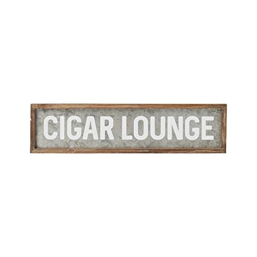 Collins Fresh and Original Cigar Lounge Galvanized Tin Sign, for Cigar Bar Wall Art or Sitter, Mancave, 24 Inches Wide X 6 Inches Tall